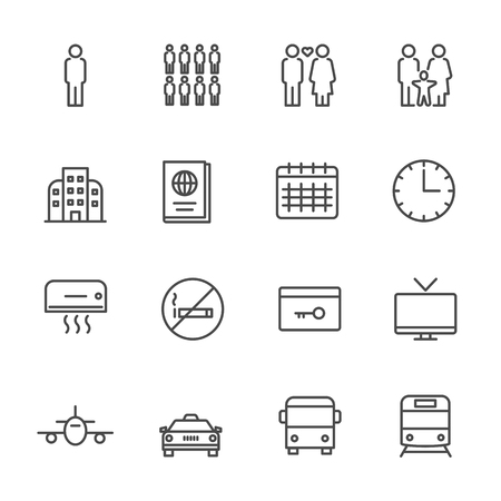 Hotel service, Simple thin line hotel icons set, Vector icon design Illustration