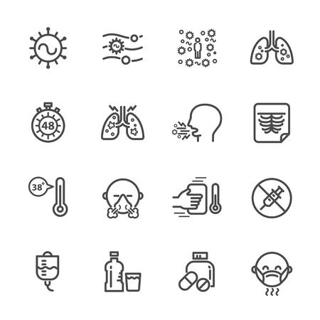 Causes et symptômes de l'infection par le virus respiratoire syncytial, Traitement de l'infection par le VRS, Icône de la ligne Vector