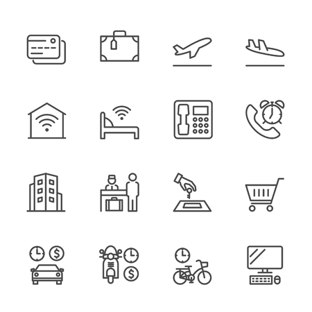 Hotel service, Simple thin line hotel icons set, Vector icon design Çizim
