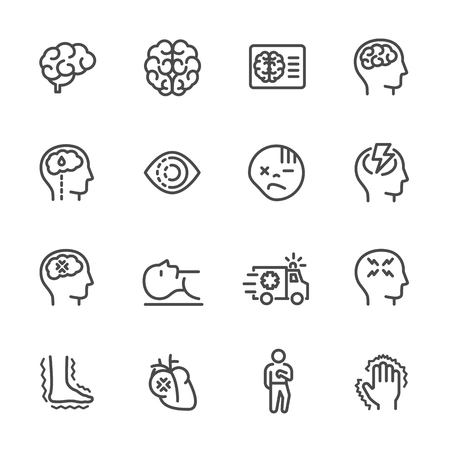 Simple line icon set of stroke disease, Vector line icon. Иллюстрация