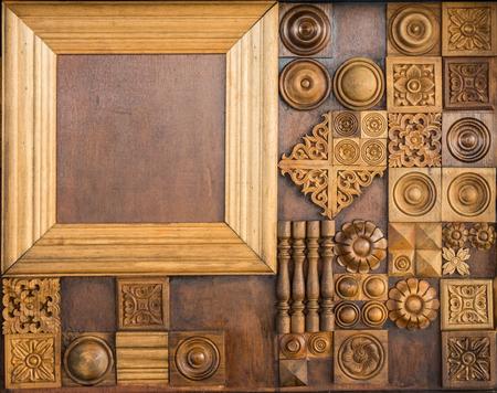 Element of decorative woodcarving , classical wooden decor elements Фото со стока