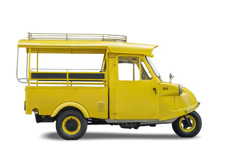 Vintage yellow auto rickshaw taxi, thailand native taxi call tuk-tuk, Isolated on white background, Clipping path included