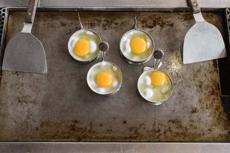 Fried egg , Egg cookingl in frying pan