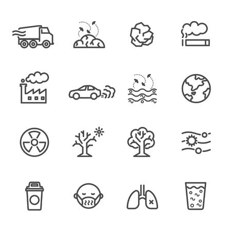 Vervuiling icon set, Vector illustratie van dunne lijn iconen voor vervuiling Bevat pictogrammen zoals aarde, fabriek, lucht, rook, afval, afval, verkeer en andere