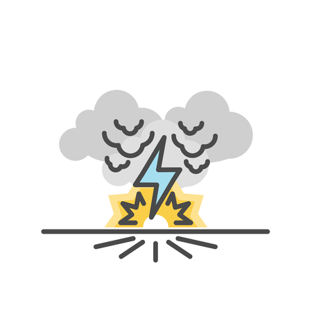 Thunder bolt, Lighting flash, Vector illustration of flat and thin line icons for Natural Disaster