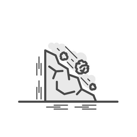 Falling rocks, Vector illustration of flat and thin line icons for Natural Disaster