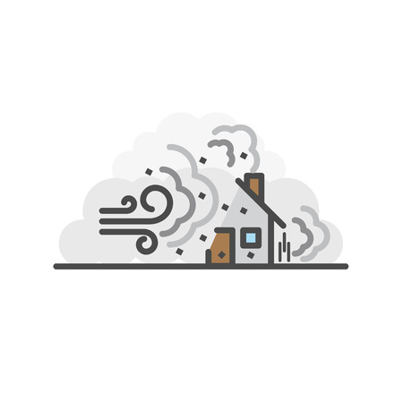 Storm, Wind destroy house. Natural disaster concept, Vector flat line icon.