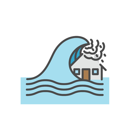Tsunami, House flood, Natural disaster concept, Vector flat line icon.
