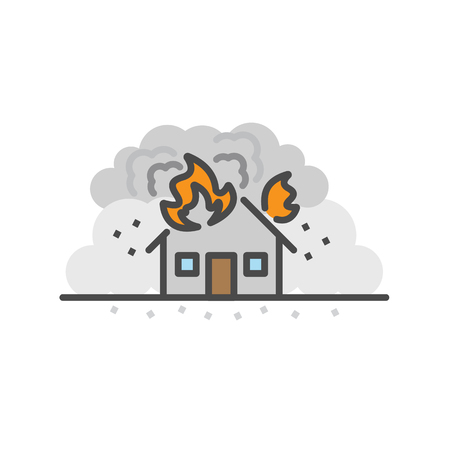 Earth Quake, House fire. Natural disaster concept, Vector flat line icon. Иллюстрация