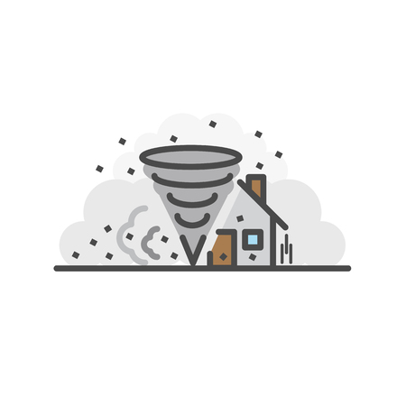 Storm destroy house. Natural disaster concept, Vector flat line icon.