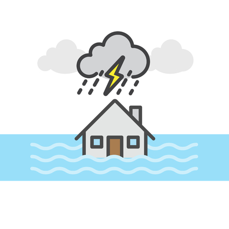 Rain, storm and flood , House flood, Natural disaster concept, Vector flat line icon.