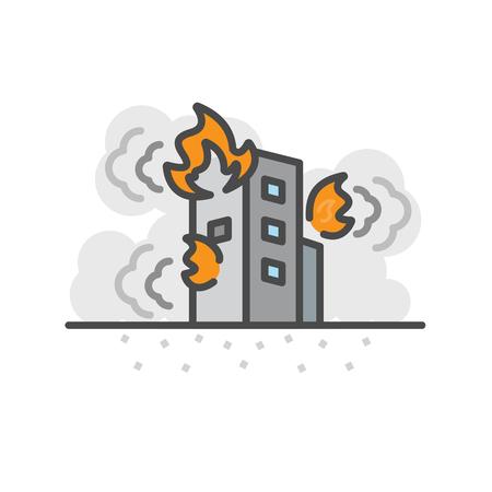 Earth Quake, Building fire. Vector flat line icon.