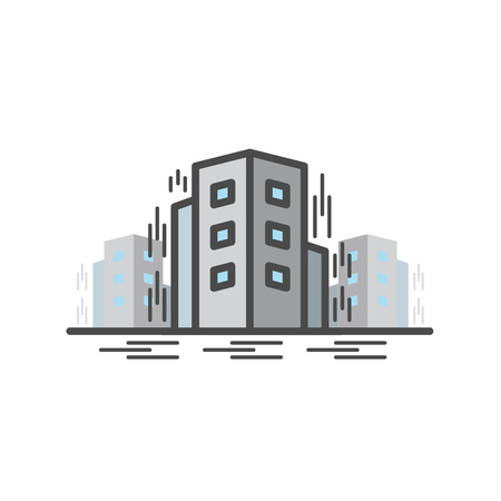 Earth Quake, Collapsed building. Vector flat line icon.