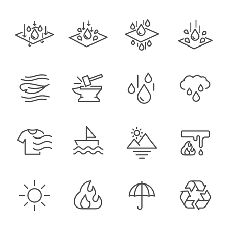 Cell Foam, Fabric Technology Properties Icons, Vector lines web icon set. Illustration