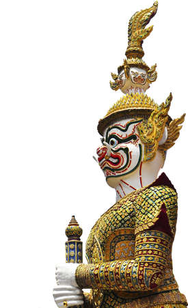 Thai Golden Demon Warrior Buddha with Isolated ,Thailand photo