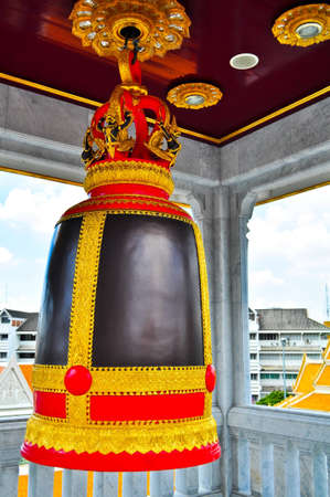 Bell Wat Traimit buddhist temple roof, Bangkok, Thailand photo
