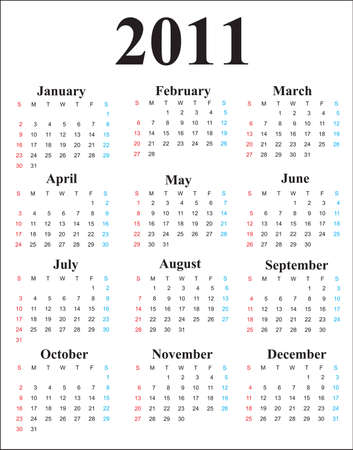 This is a calendar for 2011 on a white background. Starts sunday Helvetica font used. Colors can be changed in additional format. Vector