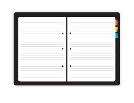 workbook: Illustration of open book on white background
