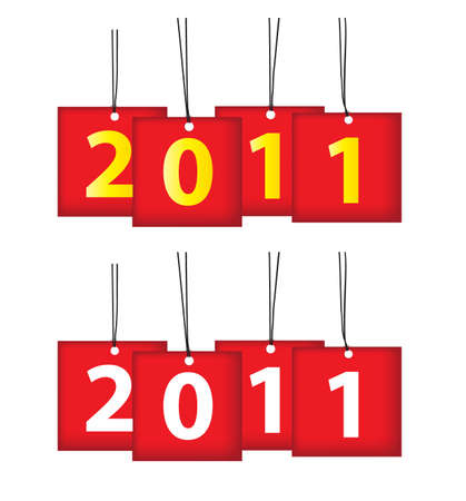 headings: Year 2011 Christmas or New Year decorative scroll pattern headings for calendars, banners, greeting cards, etc.