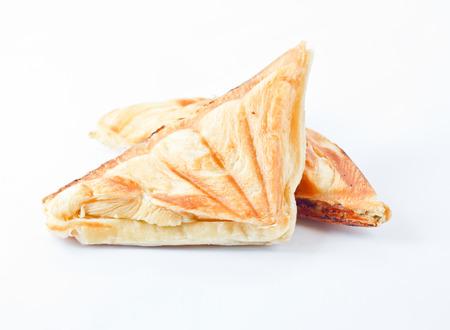 Tuna puff. Tuna sandwich on white background. photo