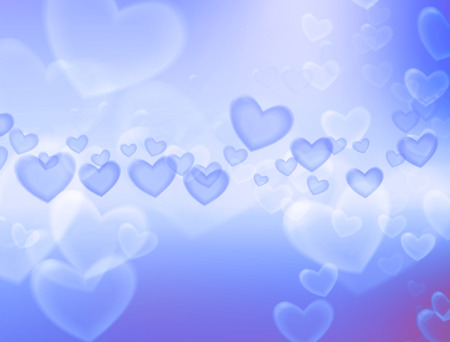 dreamlike: Valentines Day background. Heart flying in soft blue background. Stock Photo