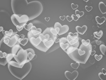 dreamlike: Valentines Day background. Heart flying in soft gray background. Stock Photo