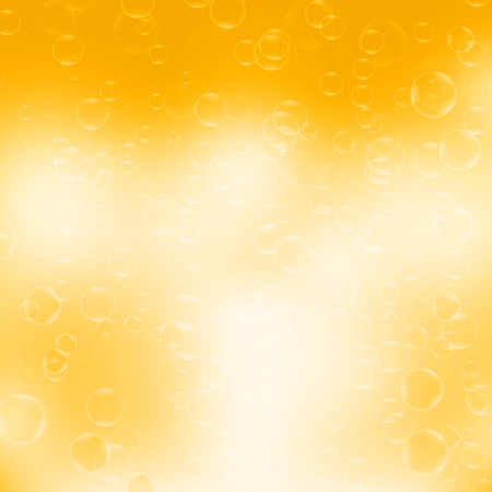 foaming: Beer bubbles. Abstract bubbles on yellow background