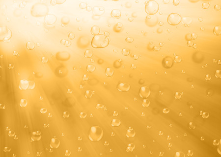 brewed: Water bubbles. Abstract bubbles on yellow filtered water background