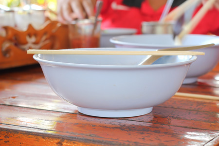 cafeteria: hot bowl of  noodles in cafeteria