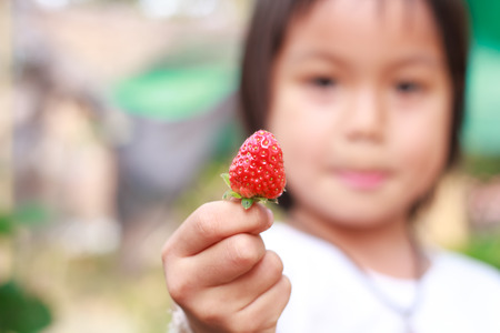 phon: Nongkhai, Thailand - March 16: Unidentified smiling child was show her strawberry at Phon Phisai Strawberry farm on Phonphisia in Nongkhai, Thailand on March 16, 2015.
