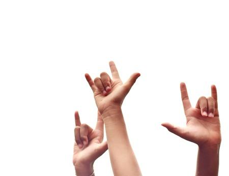 """faire l amour: �tudiant asiatique sont faire �signe de l'amour"""" de leur signe de la main. Banque d'images"""