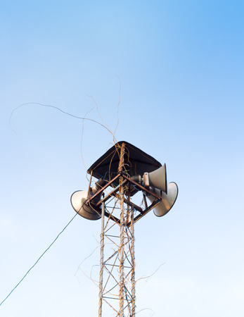 Out door loudspeakers against the sky Stock Photo