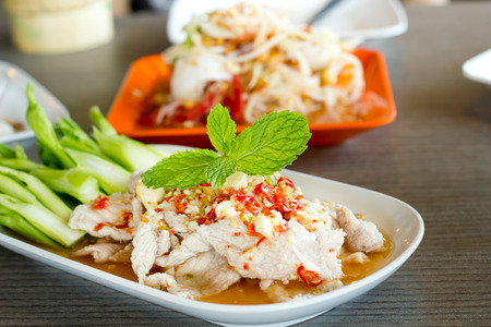 chinese food: Steamed herbal pork with lime,Thai food style.