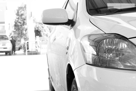 selling service: Close up of white cars on a parking place. Stock Photo
