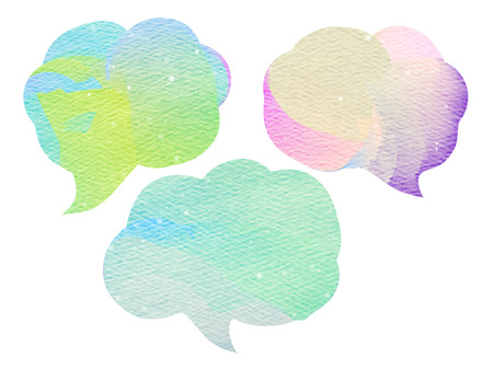 talk bubble: Abstract colorful water color art background. Stock Photo