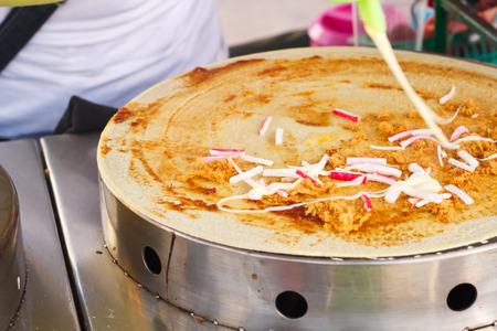 crepas: Crepes Suzette - estilo de panqueques de tailandés. Foto de archivo