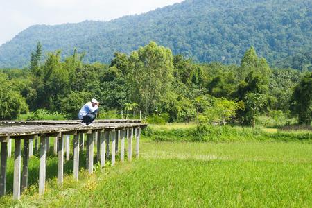 hon: Photographer take photo on vintage bamboo bridge at rice field. Stock Photo