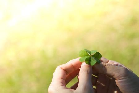 lucky clover: Asian Womens hands holding lucky clover leaf on green grass background.