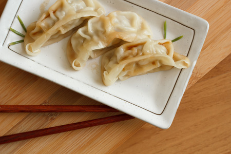 potstickers: Dim-sum call Gyoza, asian tradition food