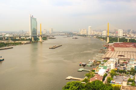 riverfront: Bangkok, Thailand - November 11, 2015 :Perspective of Jaopraya riverfront during raining time in Bangkok, Thailand.