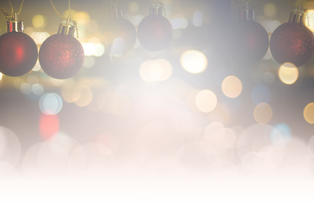 turns of the year: Defocused of Merry Christmas and happy new year decoration background. Stock Photo