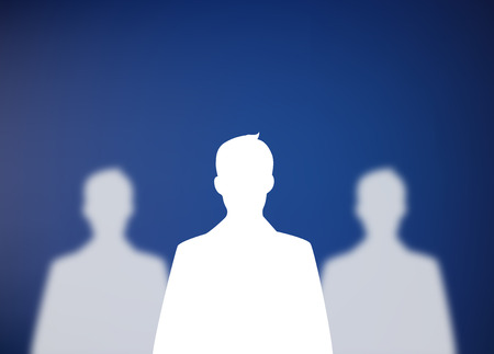 recruit suit: Three businessman silhouettes Stock Photo