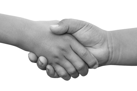 closing: Handshake or holding hands concept of Successful business people handshaking closing a deal. Stock Photo