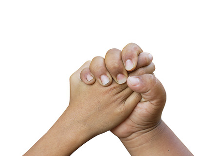 join hand: Join hand or hand shake. Stock Photo