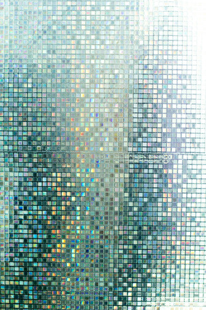 aqua background: Glass mosaic in the bathroom. Stock Photo
