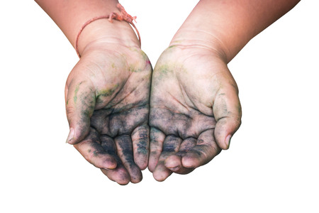 implore: A boy Raising dirty hands beg for some food on white background with work paths. Stock Photo