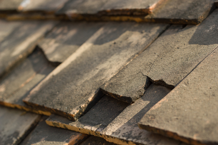 rooftile: Old roof-tile close up. Stock Photo