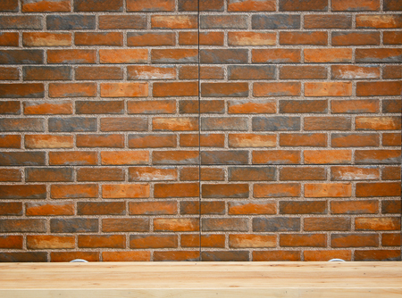 board panel: Clay brick texture of wall with wooden board panel on top table.Pattern texture for background.