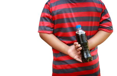 decayed teeth: El ni�o ocult� una botella de refresco de cola en la espalda.
