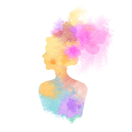 Double exposure illustration. Woman silhouette plus abstract water color painted. Digital art painting. Фото со стока